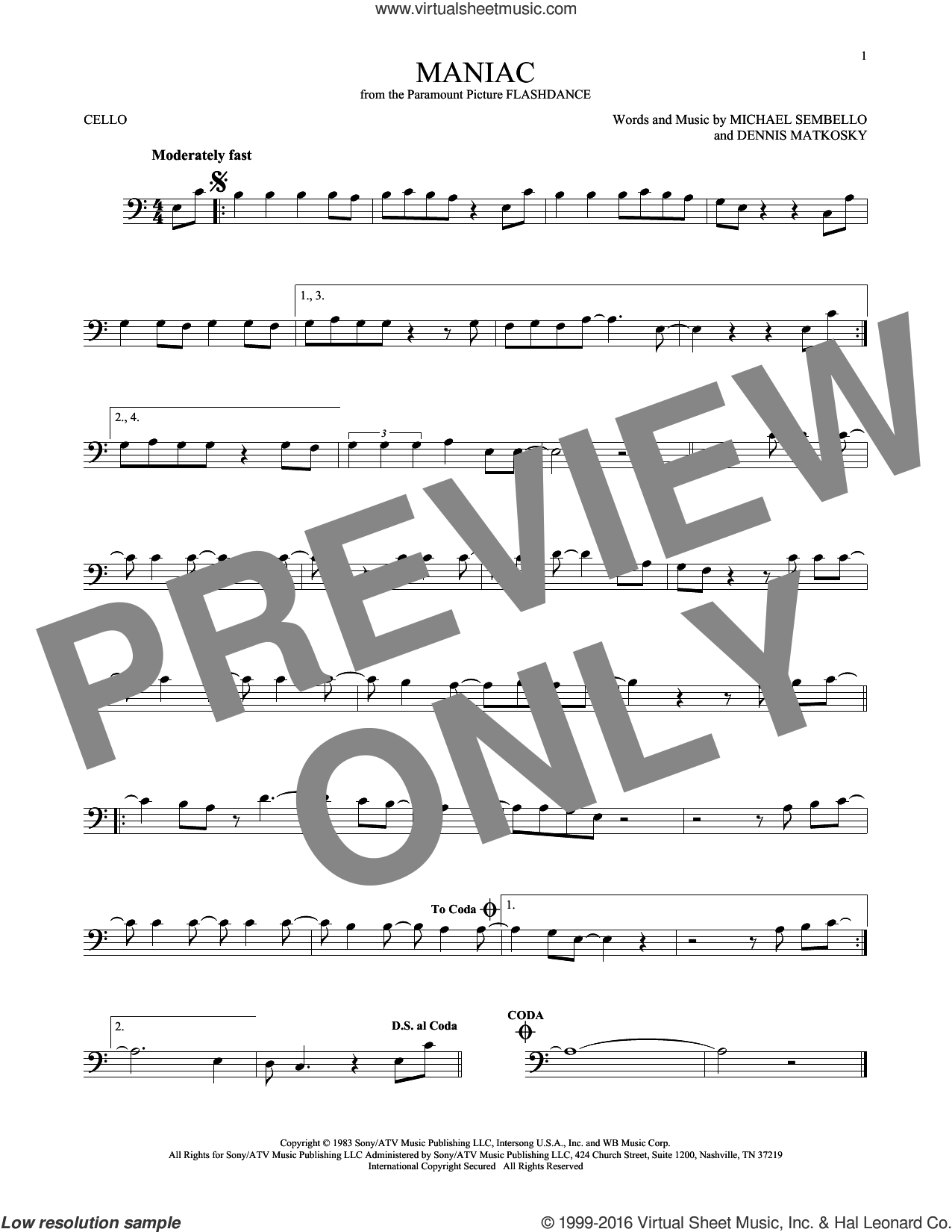 Maniac sheet music for cello solo by Michael Sembello and Dennis Matkosky, intermediate skill level