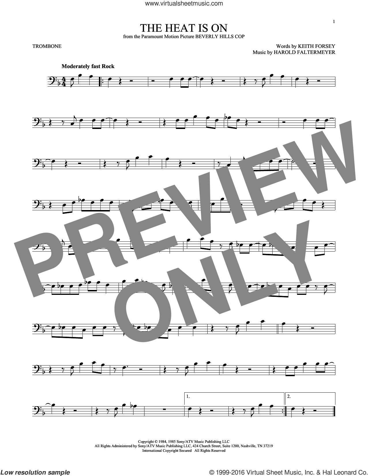 The Heat Is On sheet music for trombone solo by Glenn Frey, Harold Faltermeyer and Keith Forsey, intermediate skill level