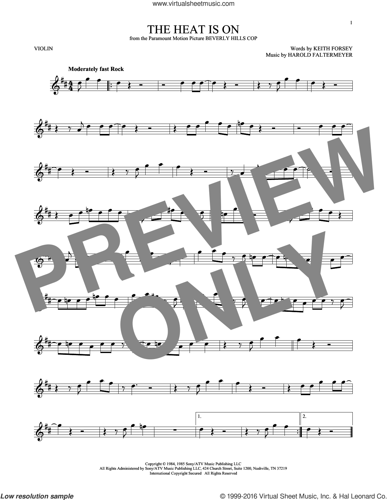 The Heat Is On sheet music for violin solo by Glenn Frey, Harold Faltermeyer and Keith Forsey. Score Image Preview.