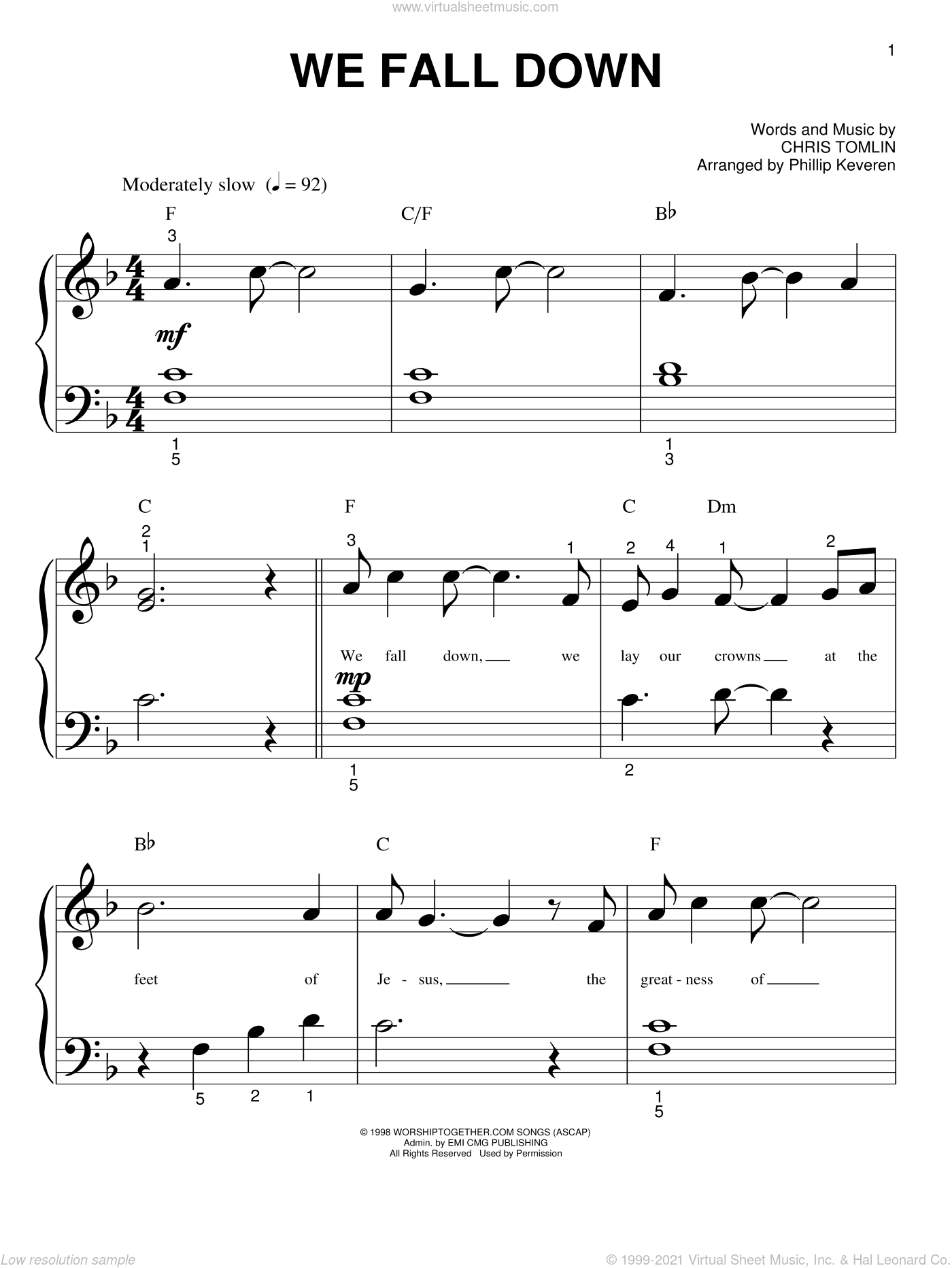 We Fall Down sheet music for piano solo (big note book) by Chris Tomlin, Phillip Keveren and Kutless, easy piano (big note book)