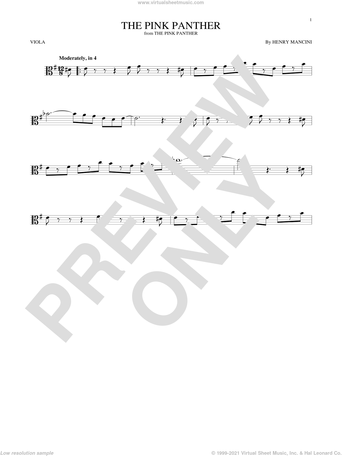 The Pink Panther sheet music for viola solo by Henry Mancini, intermediate skill level