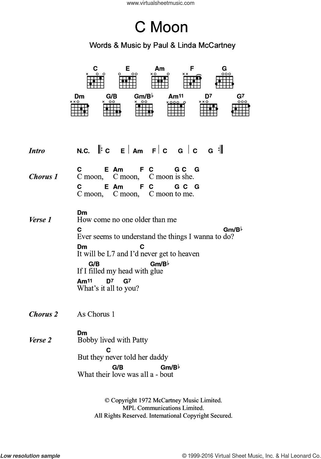 C Moon sheet music for guitar (chords) by Linda McCartney and Paul McCartney. Score Image Preview.