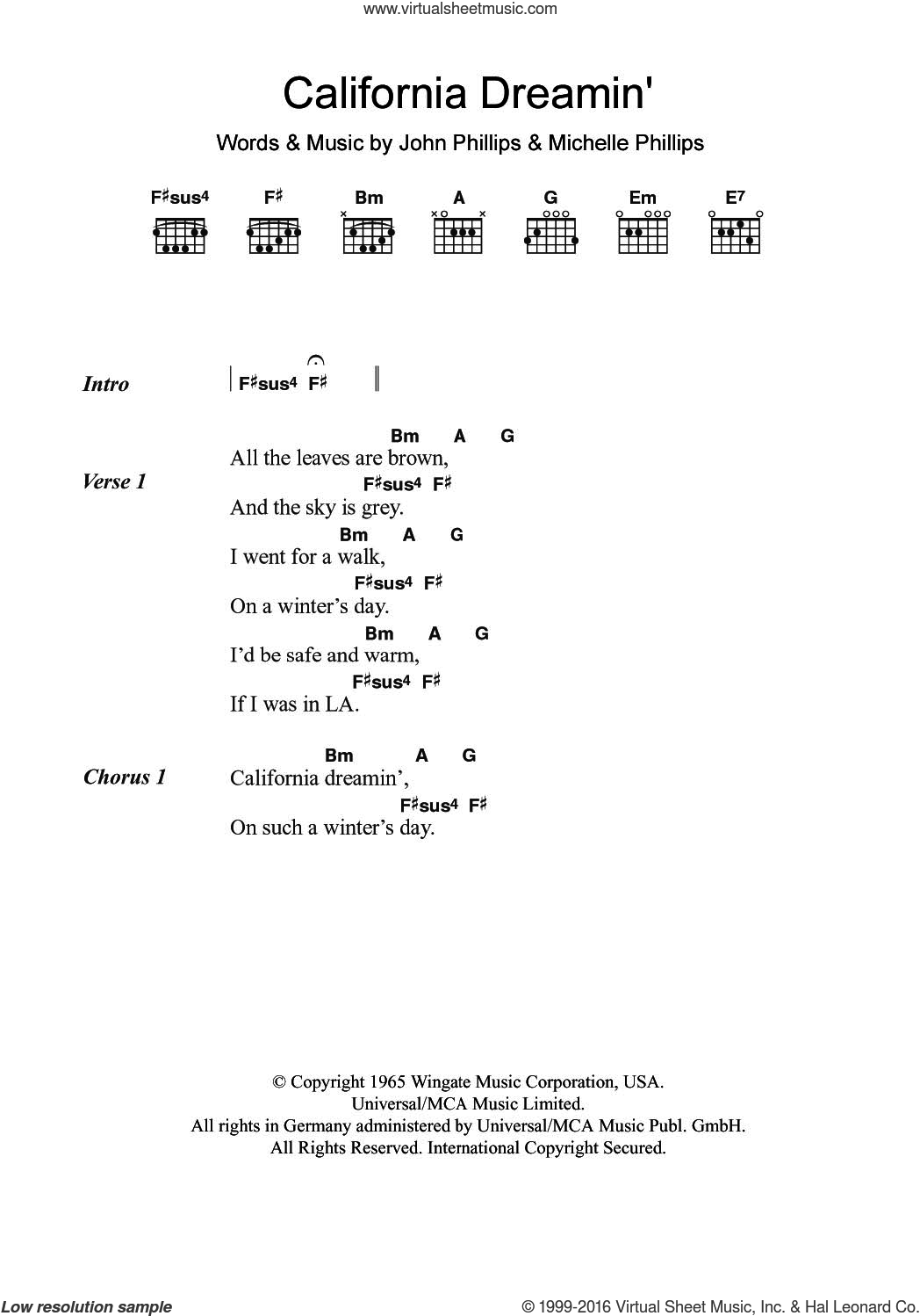 California Dreamin' sheet music for guitar (chords) by Bobby Womack, The Mamas & The Papas, John Phillips and Michelle Phillips, intermediate. Score Image Preview.