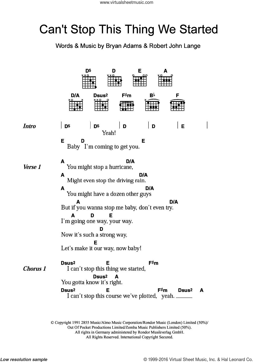 Can't Stop This Thing We Started sheet music for guitar (chords) by Bryan Adams and Robert John Lange. Score Image Preview.