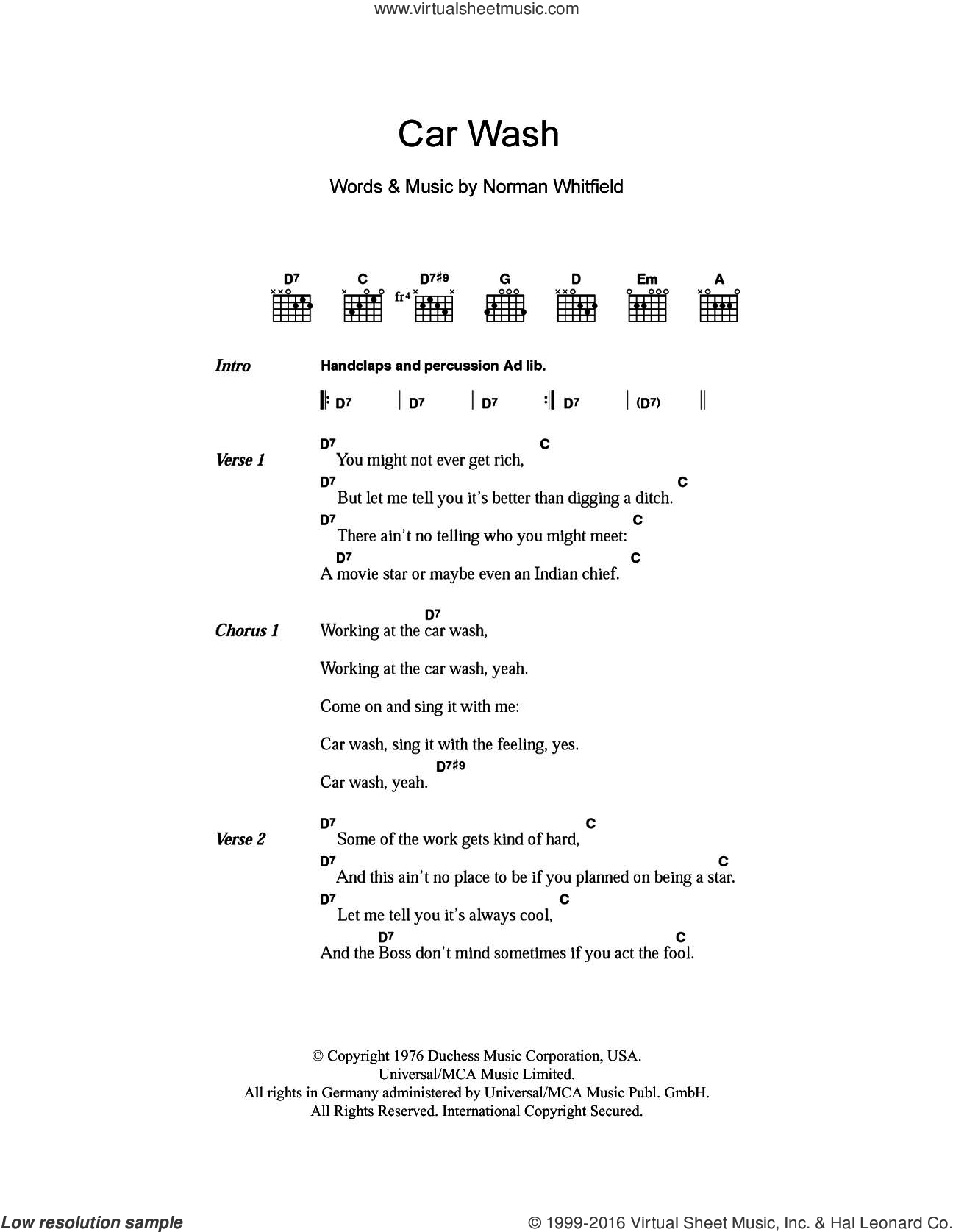 Car Wash sheet music for guitar (chords) by Rose Royce, Christina Aguilera and Norman Whitfield, intermediate