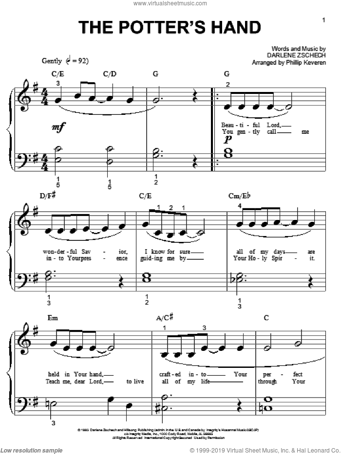 The Potter's Hand sheet music for piano solo (big note book) by Darlene Zschech and Phillip Keveren, easy piano (big note book)