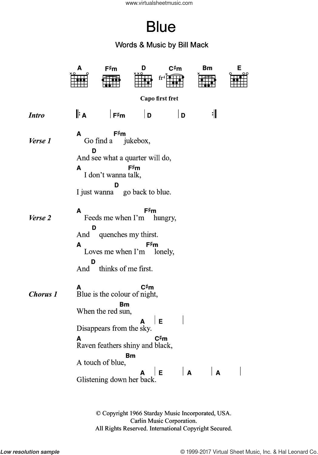 Blue sheet music for guitar (chords) by LeAnn Rimes and Bill Mack, intermediate skill level