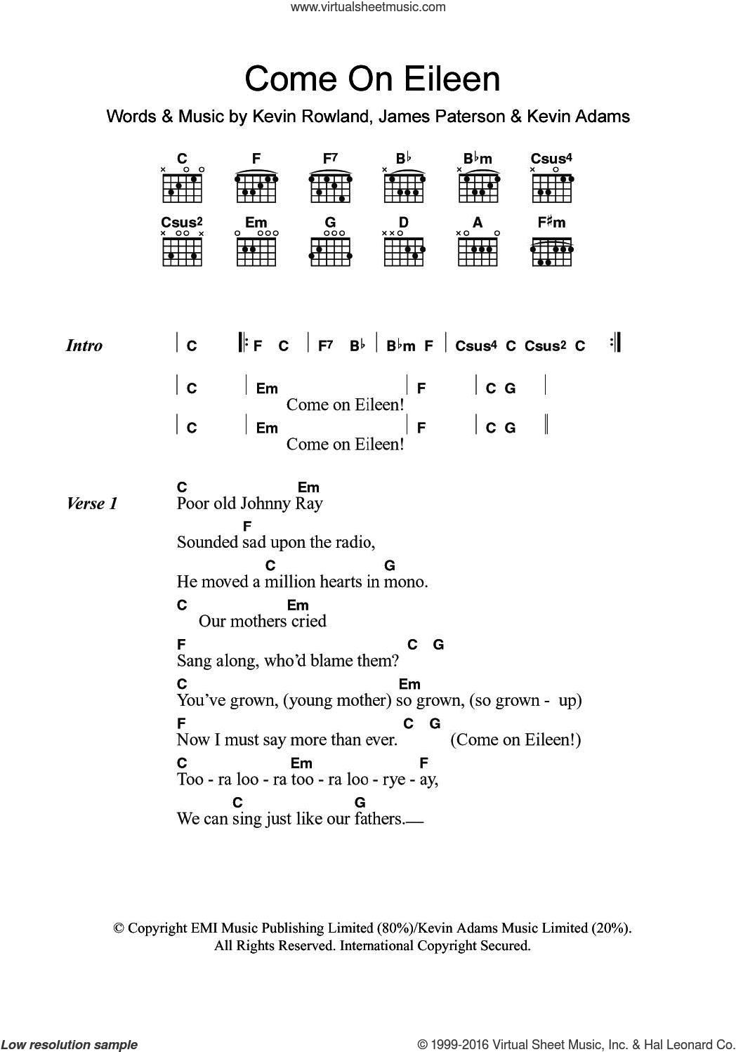 Come On Eileen sheet music for guitar (chords) by Dexy's Midnight Runners, James Paterson, Kevin Adams and Kevin Rowland, intermediate