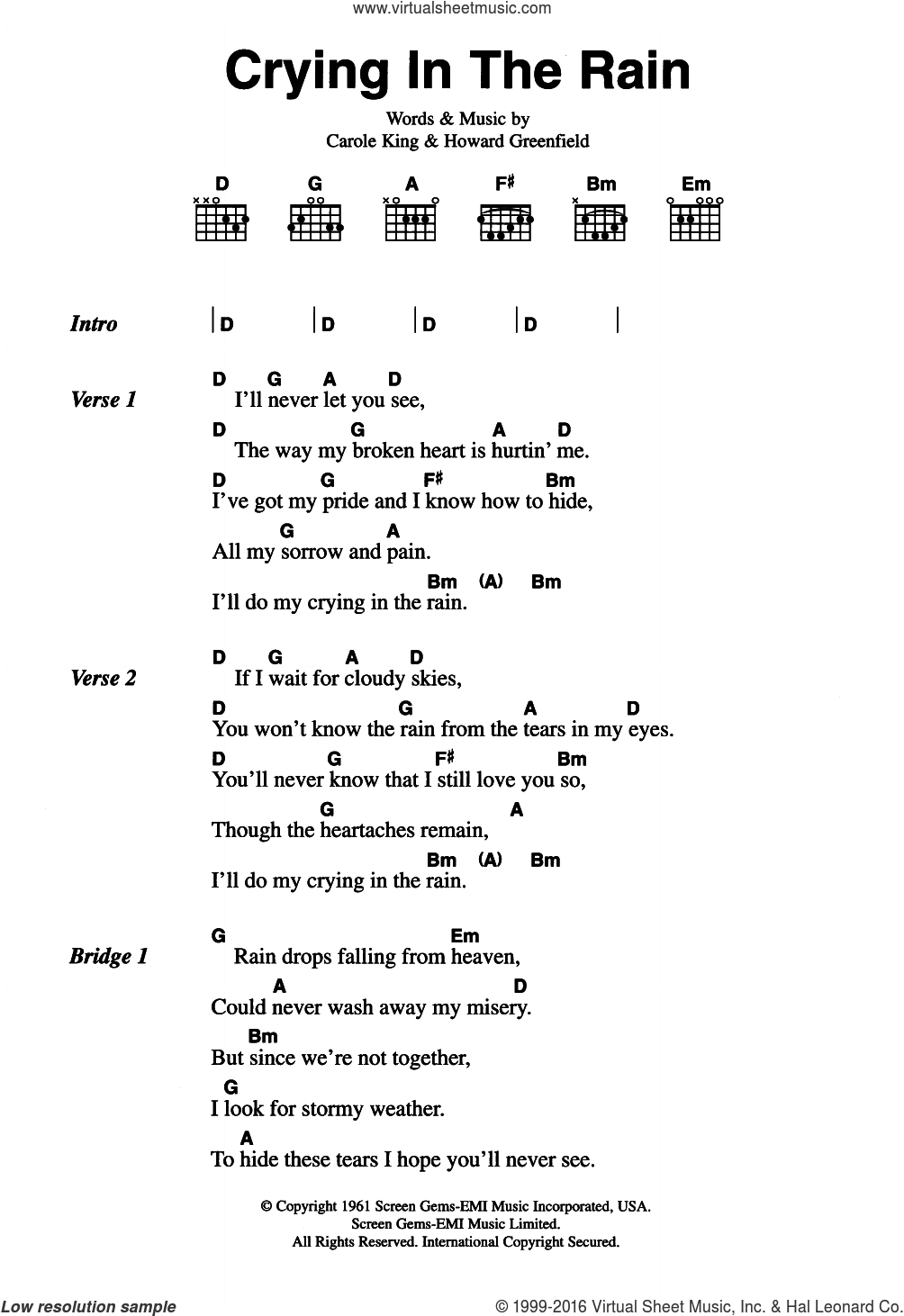 Crying In The Rain sheet music for guitar (chords) by The Everly Brothers, Carole King and Howard Greenfield, intermediate. Score Image Preview.