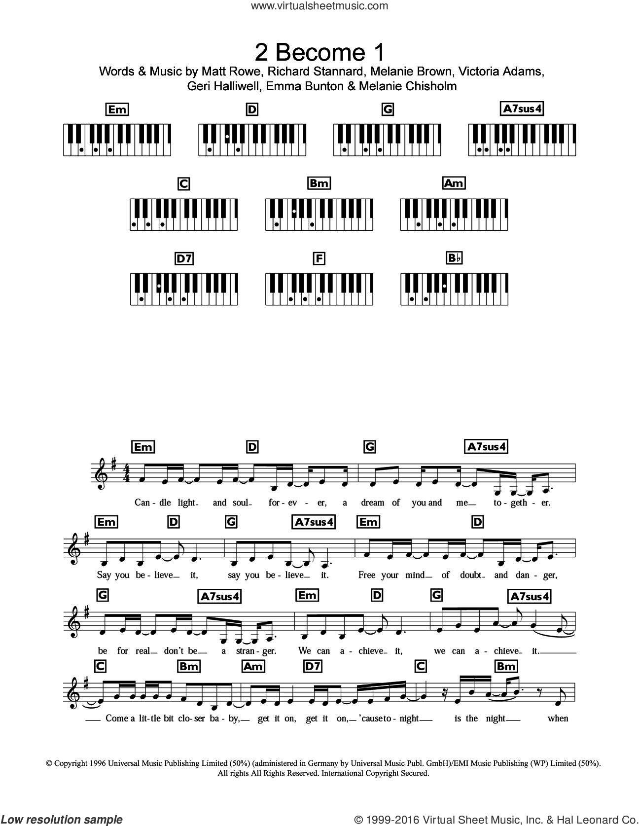 2 Become 1 sheet music for piano solo (chords, lyrics, melody) by Spice Girls, Chisholm Melanie, Emma Bunton, Geri Halliwell and Richard Stannard, intermediate piano (chords, lyrics, melody). Score Image Preview.