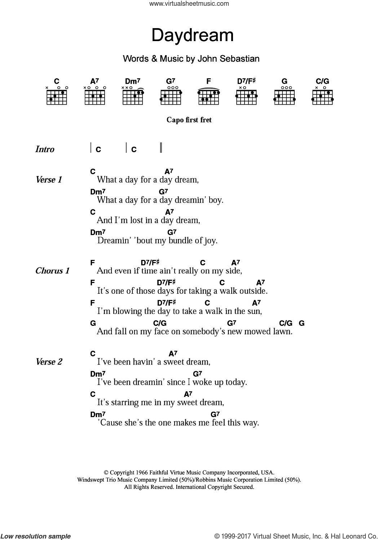 Daydream sheet music for guitar (chords) by The Lovin' Spoonful and John Sebastian, intermediate skill level