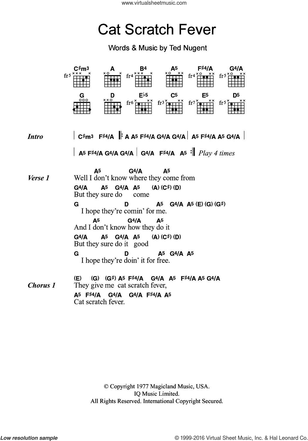 Cat Scratch Fever sheet music for guitar (chords) by Ted Nugent, intermediate skill level
