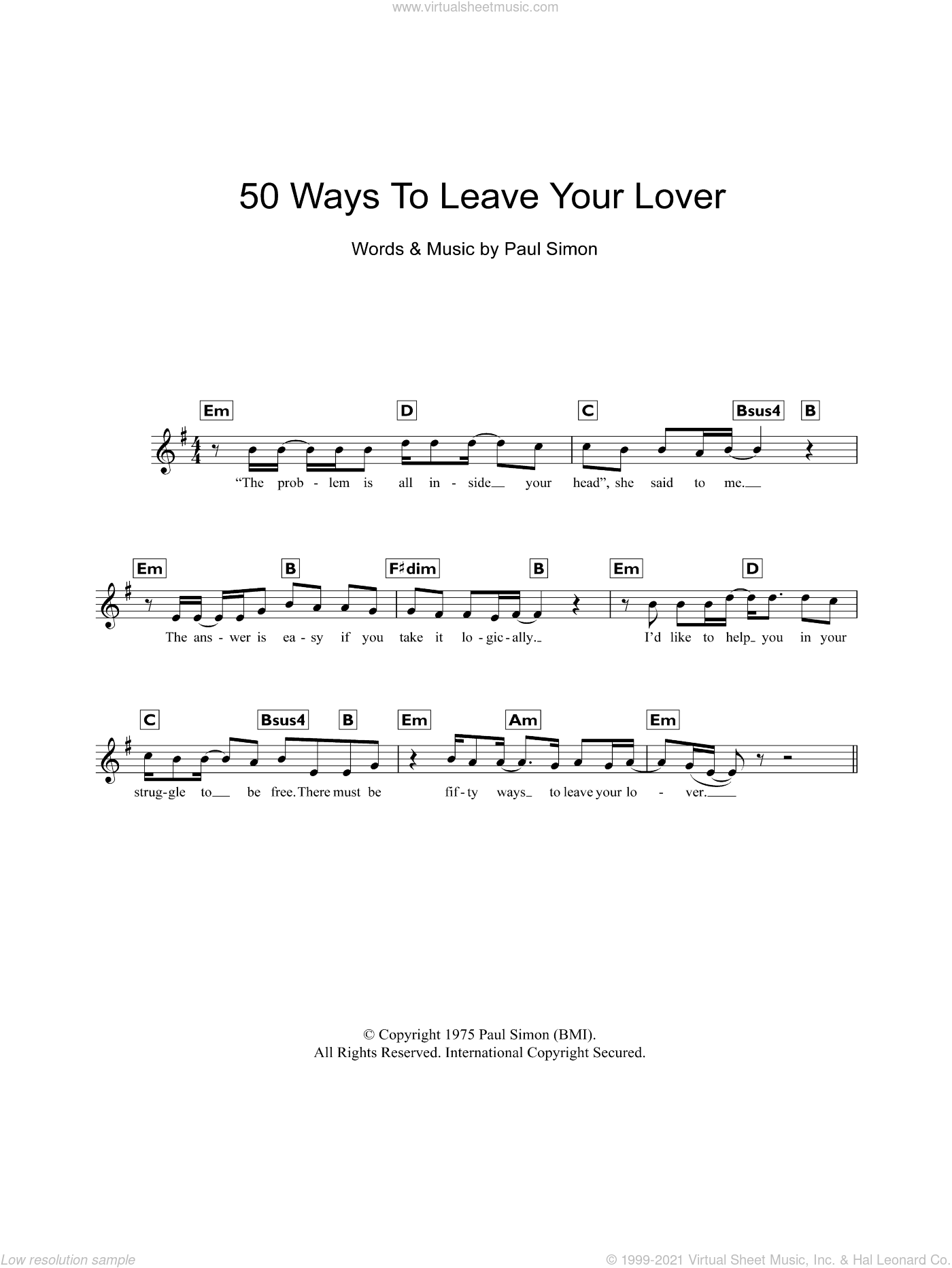 Fifty Ways To Leave Your Lover sheet music for piano solo (chords, lyrics, melody) by Paul Simon, intermediate piano (chords, lyrics, melody). Score Image Preview.