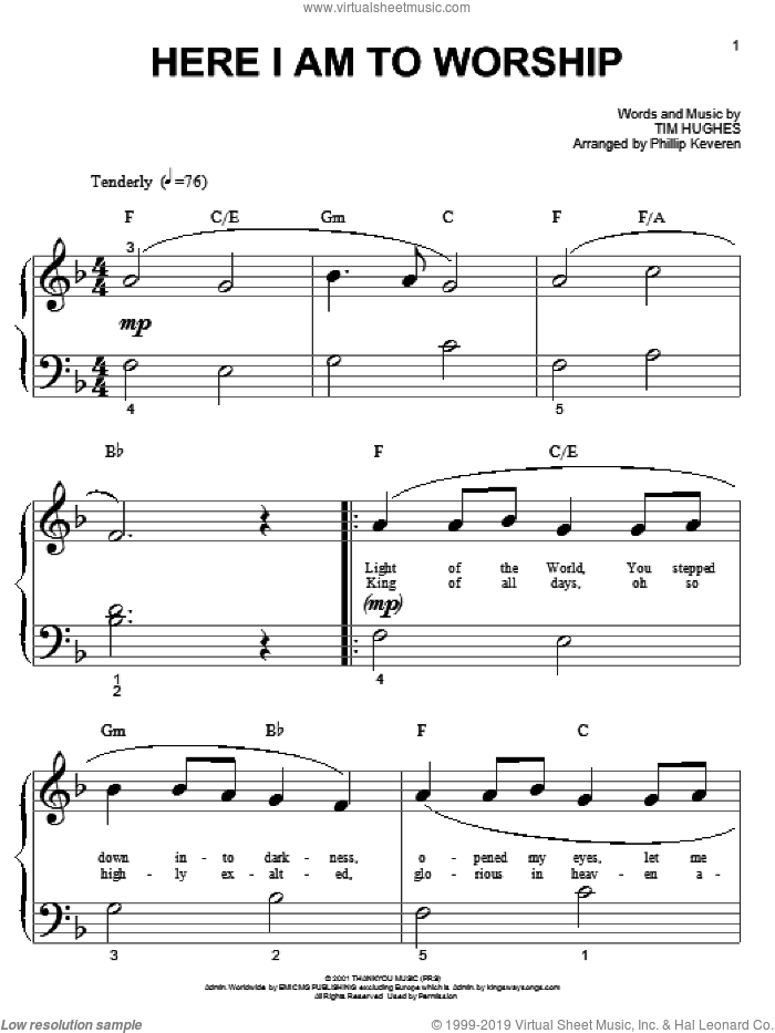 Here I Am To Worship sheet music for piano solo (big note book) by Phillips, Craig & Dean, Phillip Keveren and Tim Hughes, easy piano (big note book)