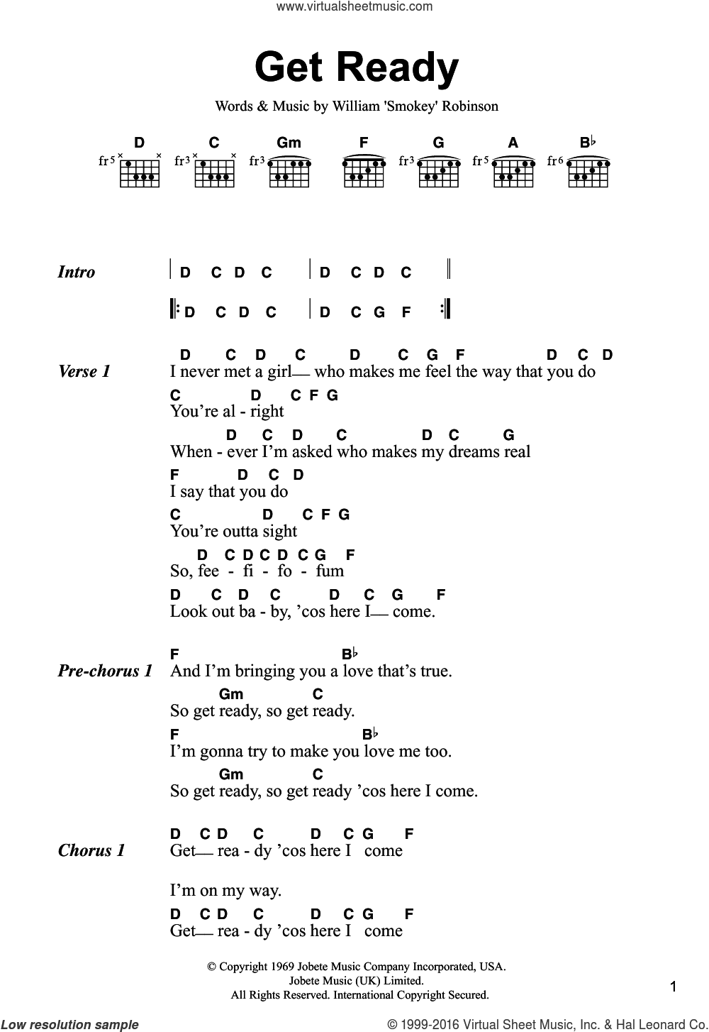 Robinson Get Ready Sheet Music For Guitar Chords Pdf