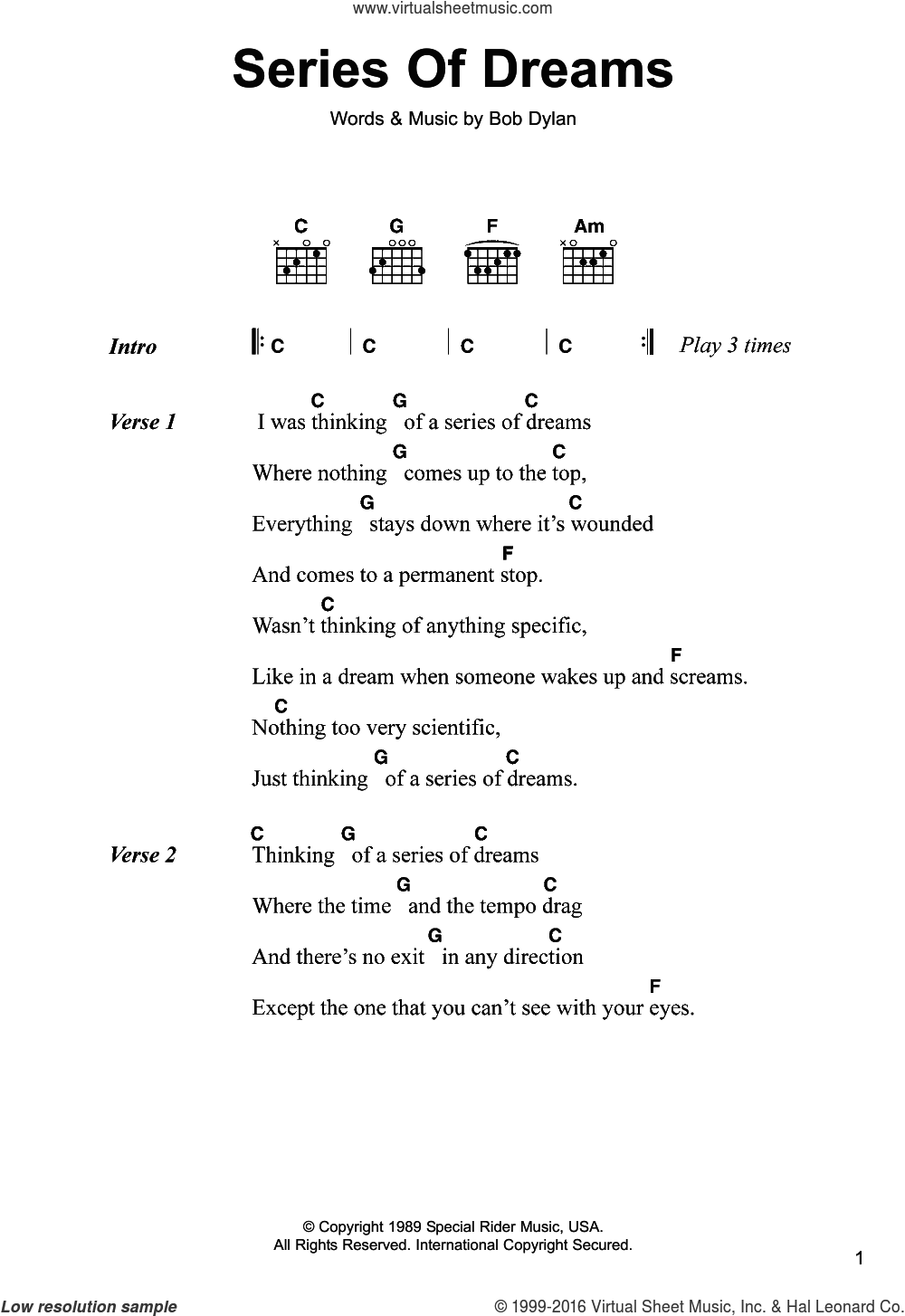 Series Of Dreams sheet music for guitar (chords) by Bob Dylan, intermediate guitar (chords). Score Image Preview.