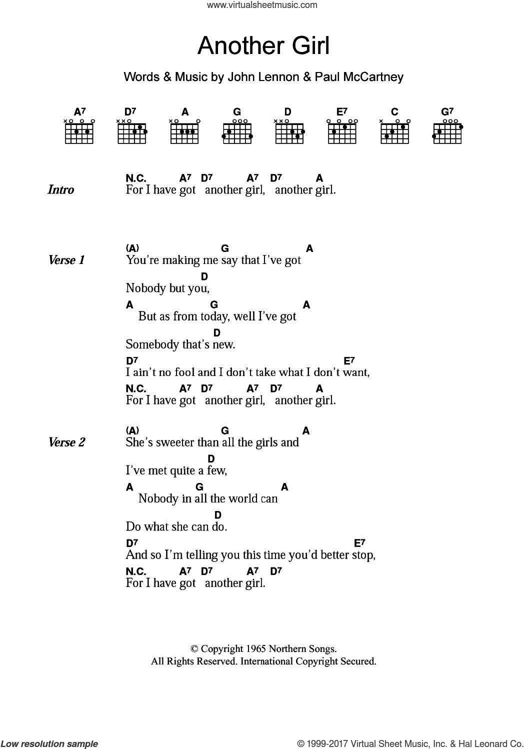 Another Girl sheet music for guitar (chords) by The Beatles, John Lennon and Paul McCartney, intermediate skill level