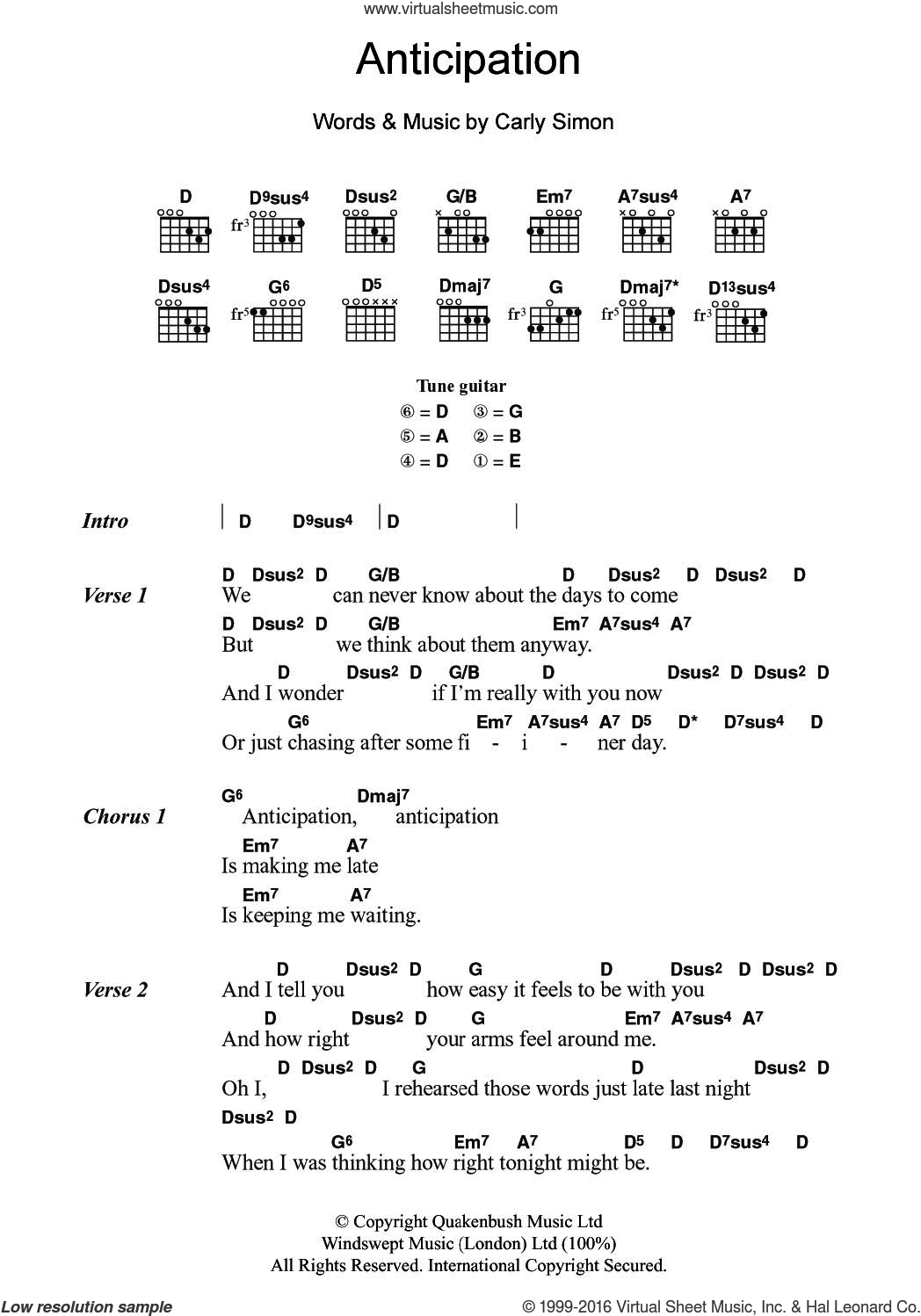 Anticipation sheet music for guitar (chords) by Carly Simon, intermediate. Score Image Preview.