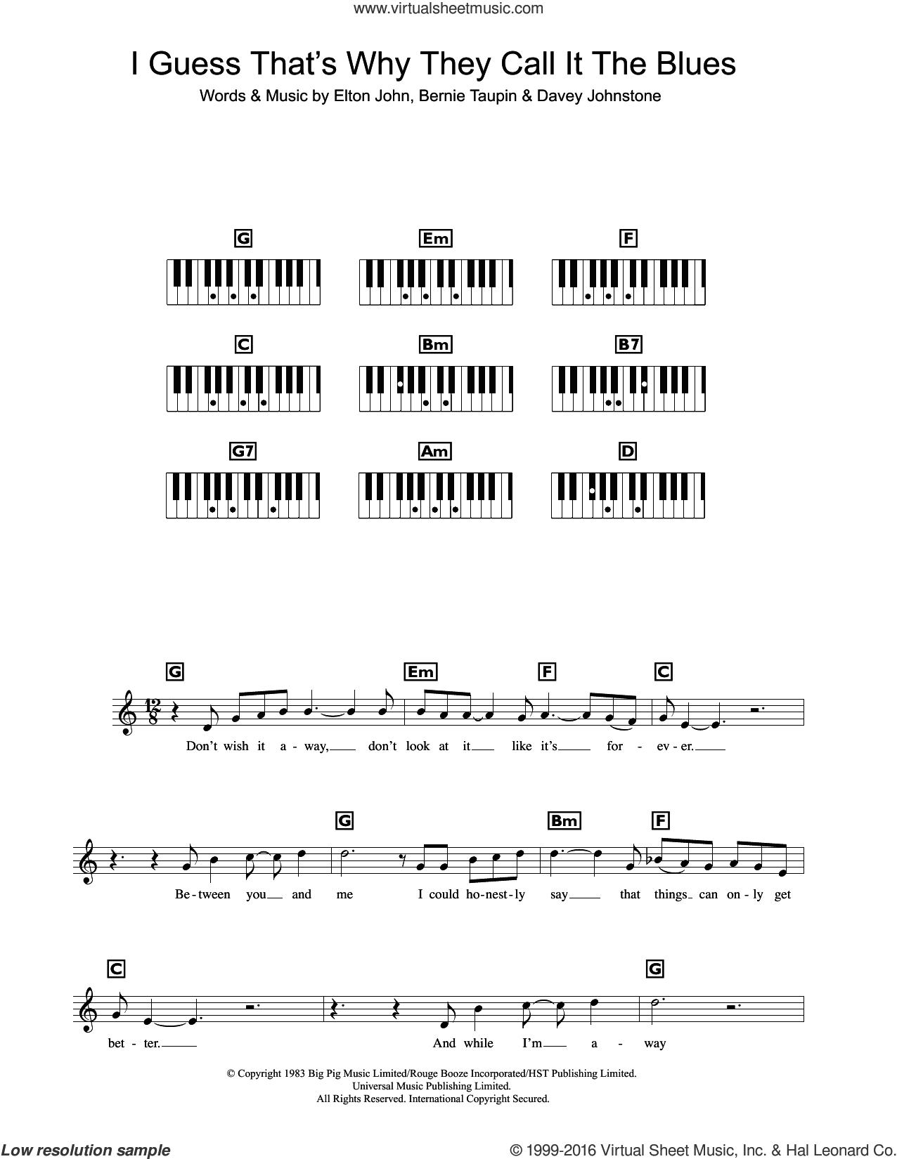 I Guess That's Why They Call It The Blues sheet music for piano solo (chords, lyrics, melody) by Elton John, Bernie Taupin and Davey Johnstone, intermediate piano (chords, lyrics, melody)