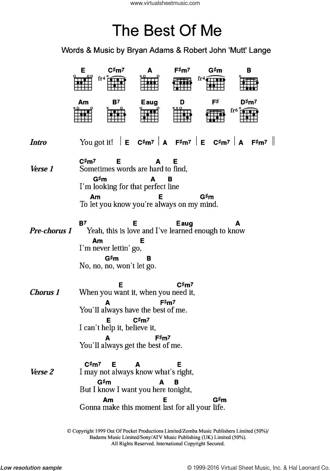 The Best Of Me sheet music for guitar (chords) by Bryan Adams and Robert John Lange, intermediate skill level