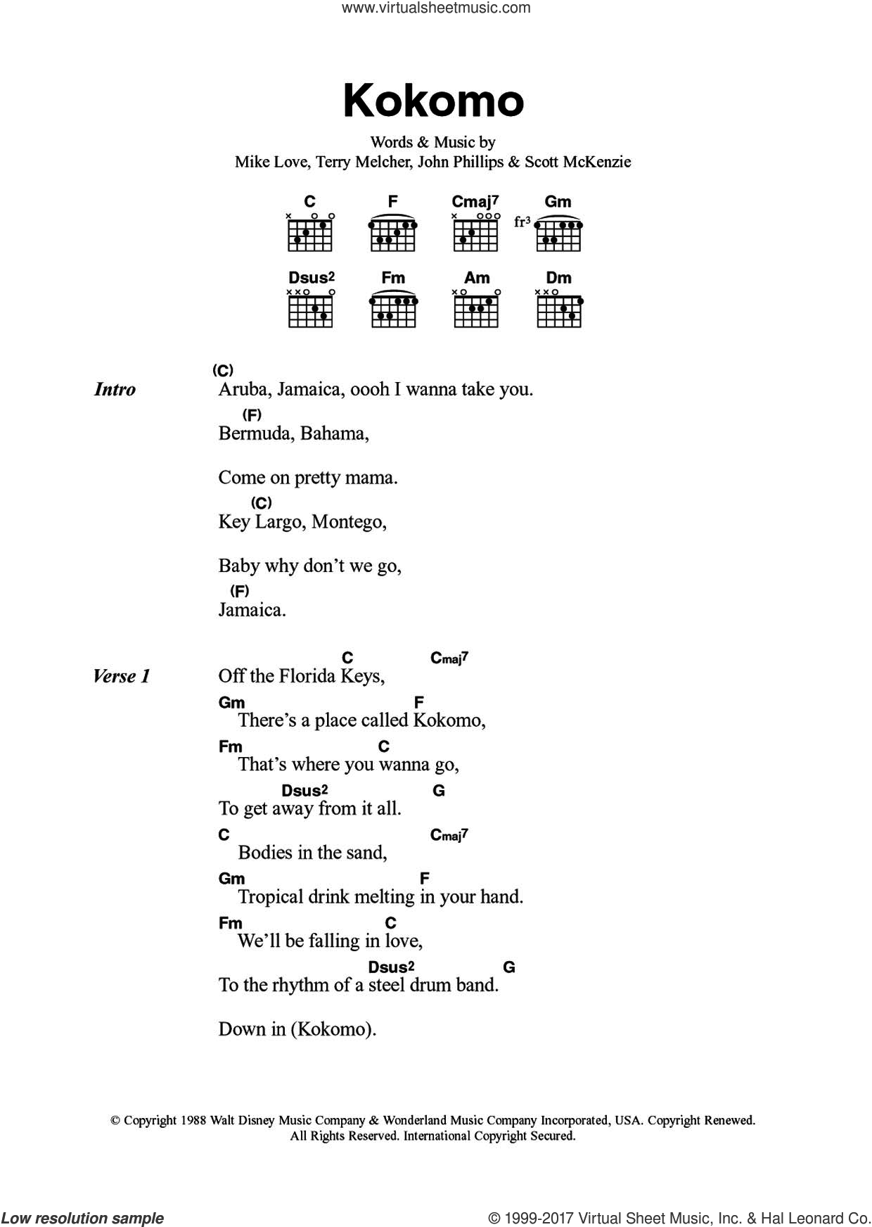 Kokomo sheet music for guitar (chords) by The Beach Boys, John Phillips, Mike Love, Scott McKenzie and Terry Melcher, intermediate skill level