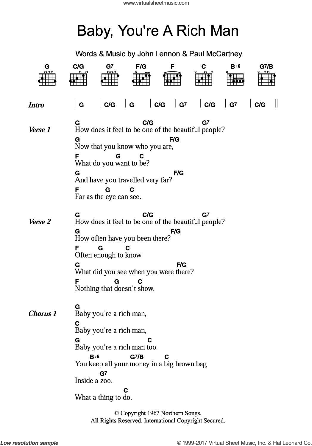 Beatles Baby Youre A Rich Man Sheet Music For Guitar Chords