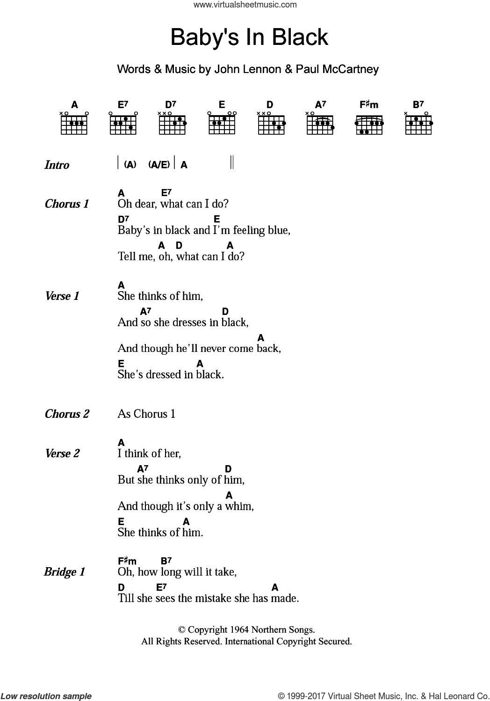 Beatles Babys In Black Sheet Music For Guitar Chords Pdf