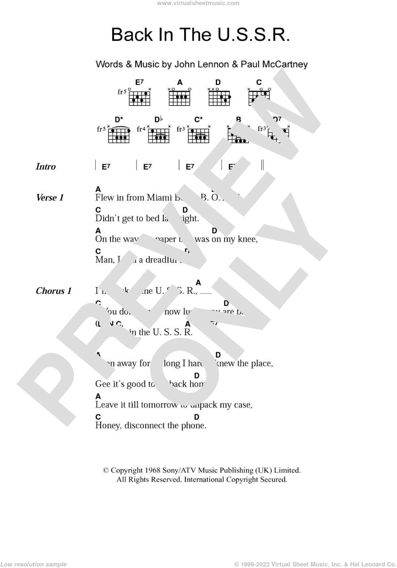 Back In The USSR sheet music for guitar (chords) by Paul McCartney