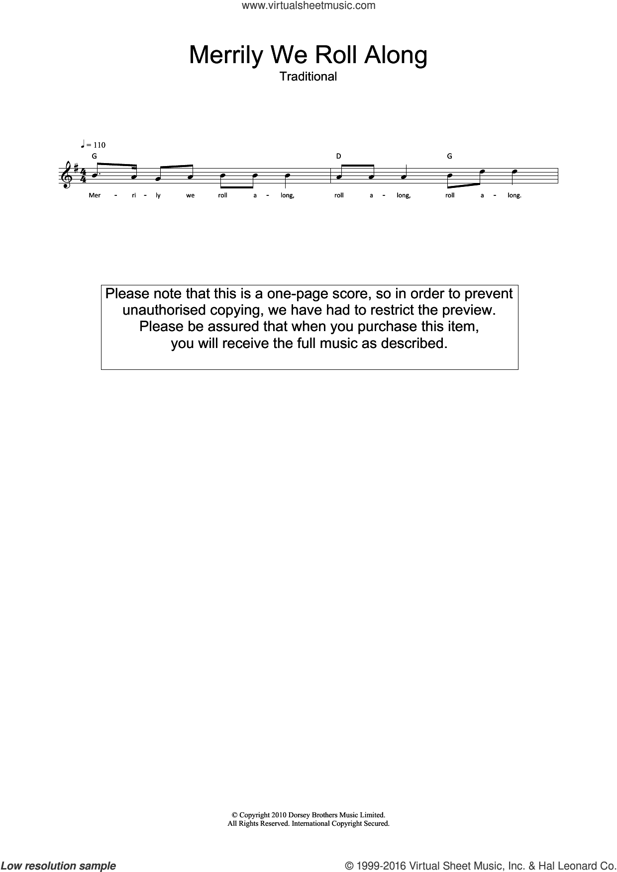 Merrily We Roll Along sheet music for voice and other instruments (fake book). Score Image Preview.