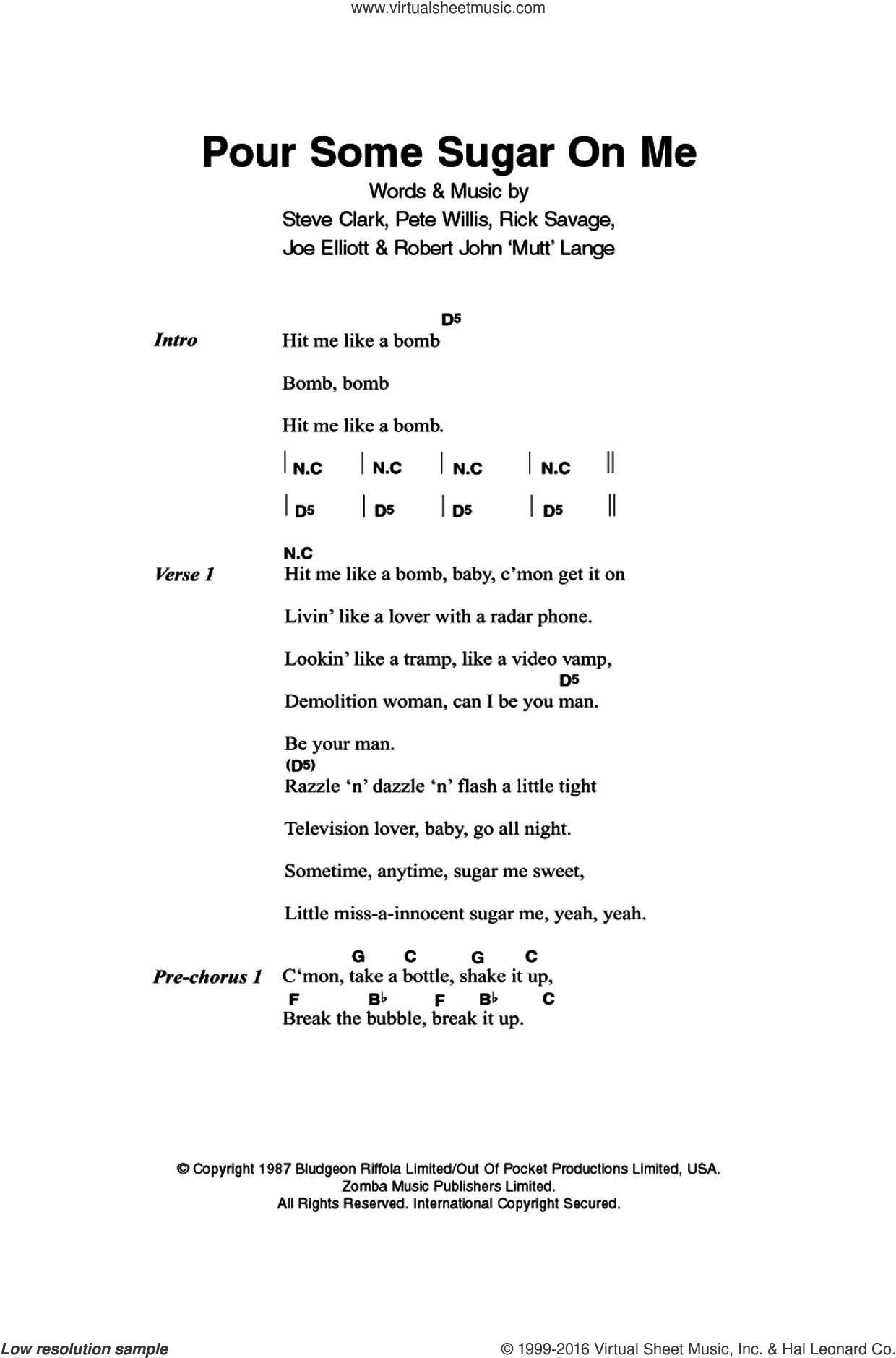 Pour Some Sugar On Me sheet music for guitar (chords) by Steve Clark, Def Leppard, Joe Elliott and Robert John Lange. Score Image Preview.