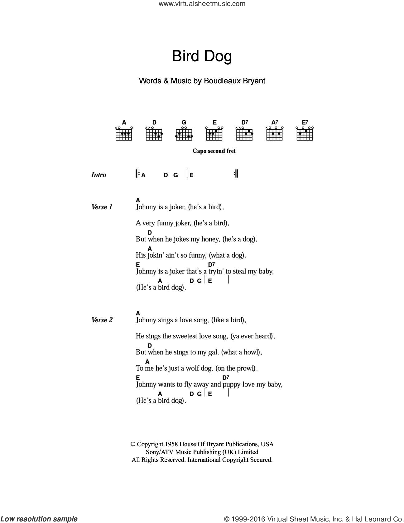 Bird Dog sheet music for guitar (chords) by The Everly Brothers and Boudleaux Bryant, intermediate skill level