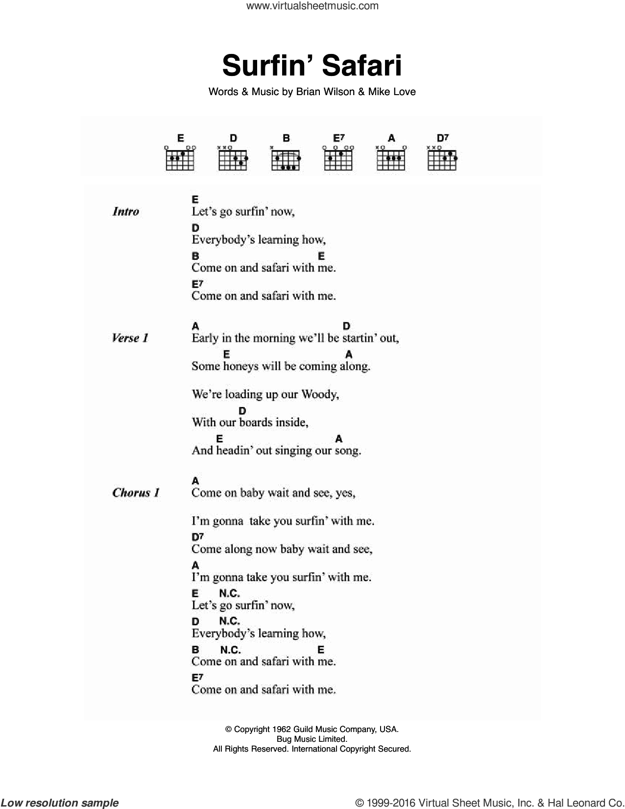 Surfin' Safari sheet music for guitar (chords) by The Beach Boys, Brian Wilson and Mike Love, intermediate skill level