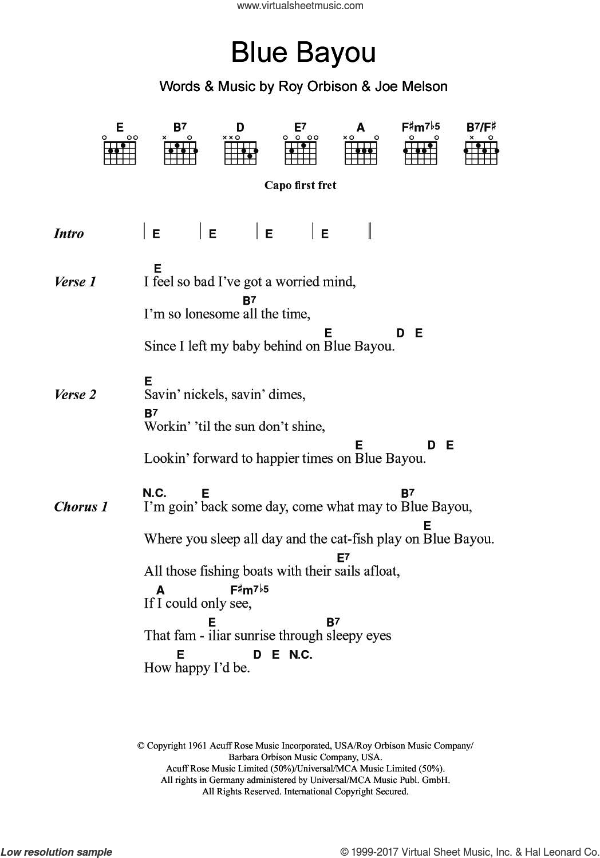 Orbison Blue Bayou Sheet Music For Guitar Chords Pdf