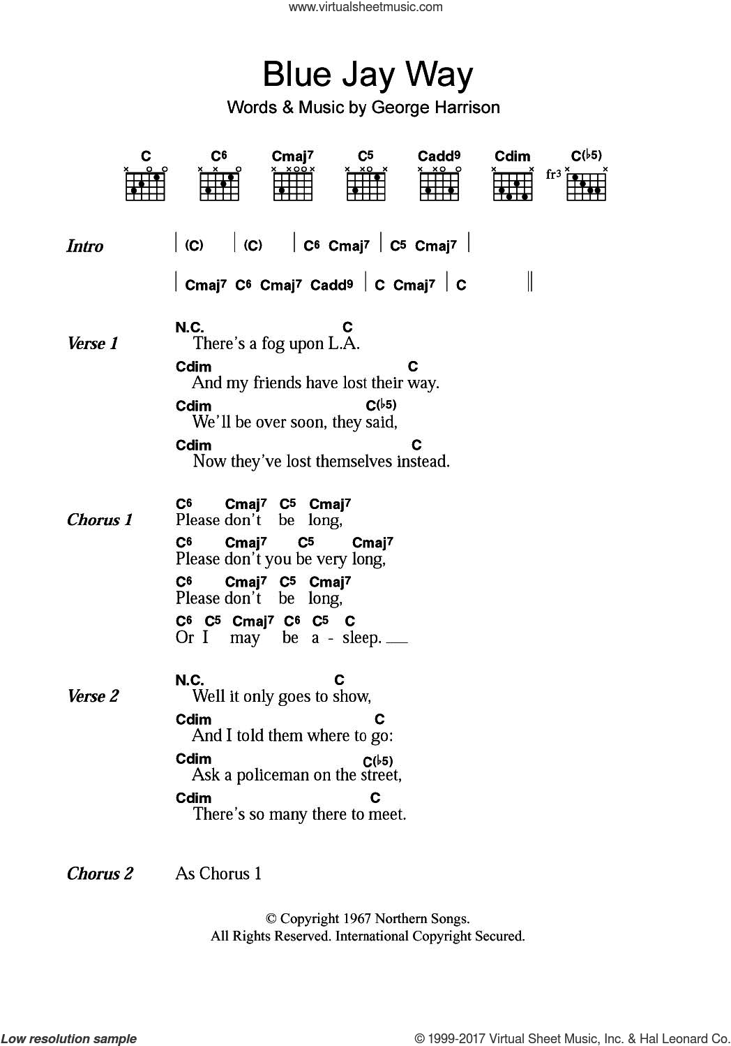 Beatles Blue Jay Way Sheet Music For Guitar Chords Pdf