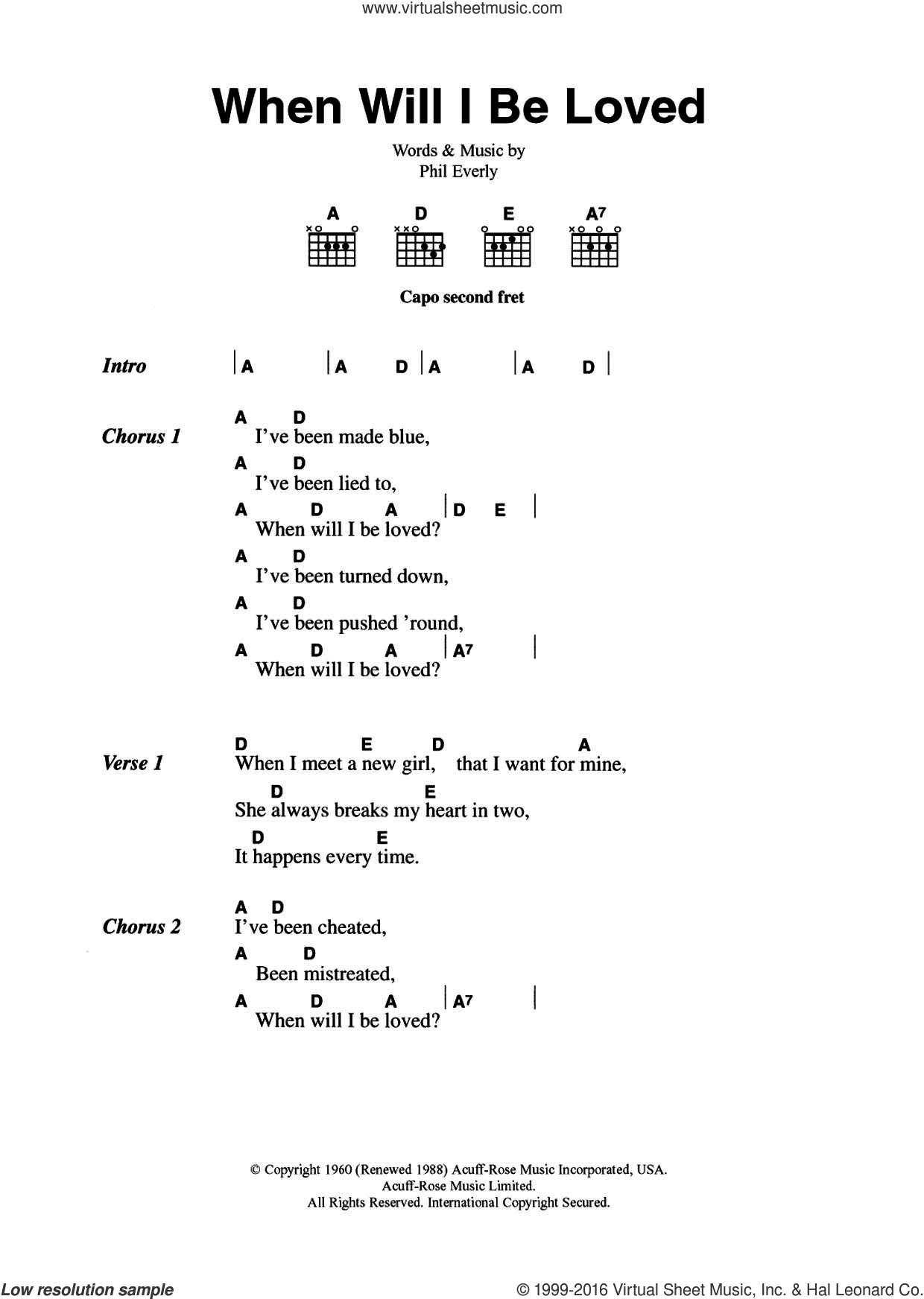 When Will I Be Loved? sheet music for guitar (chords) by The Everly Brothers and Phil Everly, intermediate