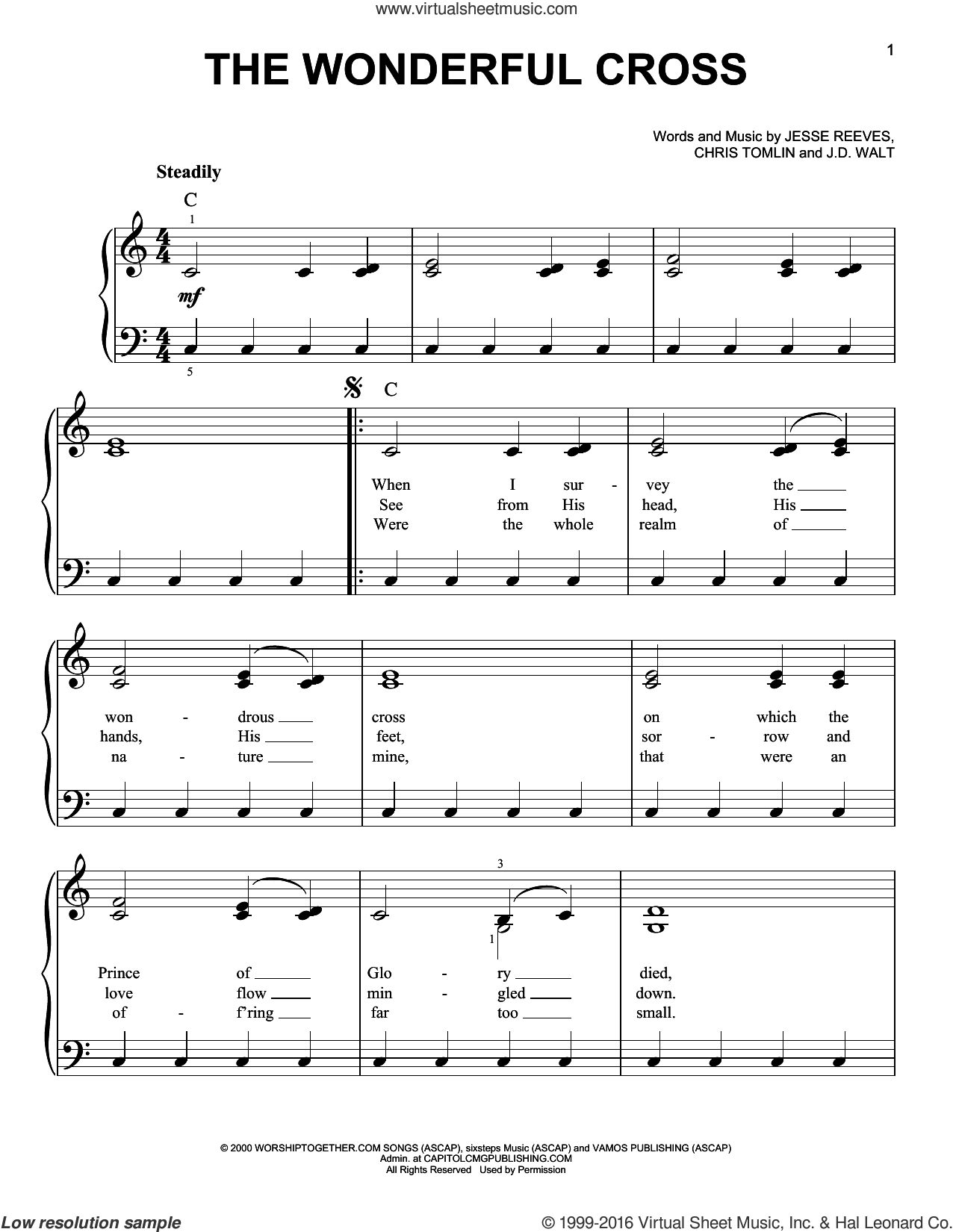 The Wonderful Cross sheet music for piano solo by Phillips, Craig & Dean, Chris Tomlin, J.D. Walt and Jesse Reeves, easy