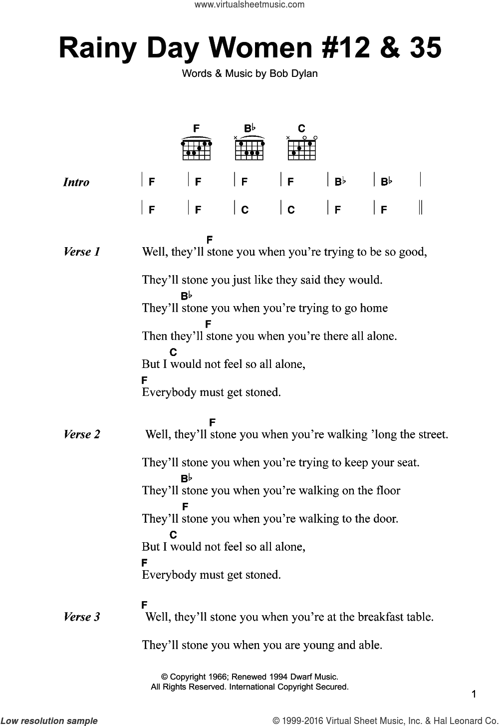Rainy Day Women #12 and 35 sheet music for guitar (chords) by Bob Dylan. Score Image Preview.