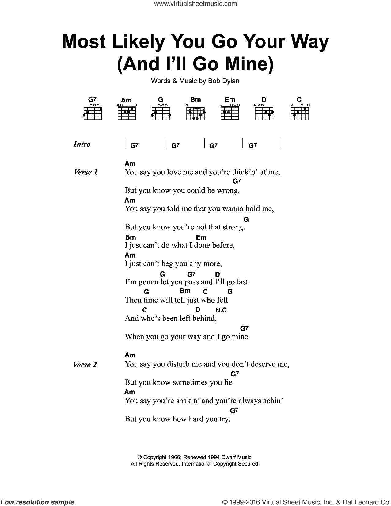 Most Likely You Go Your Way (And I'll Go Mine) sheet music for guitar (chords) by Bob Dylan, intermediate. Score Image Preview.