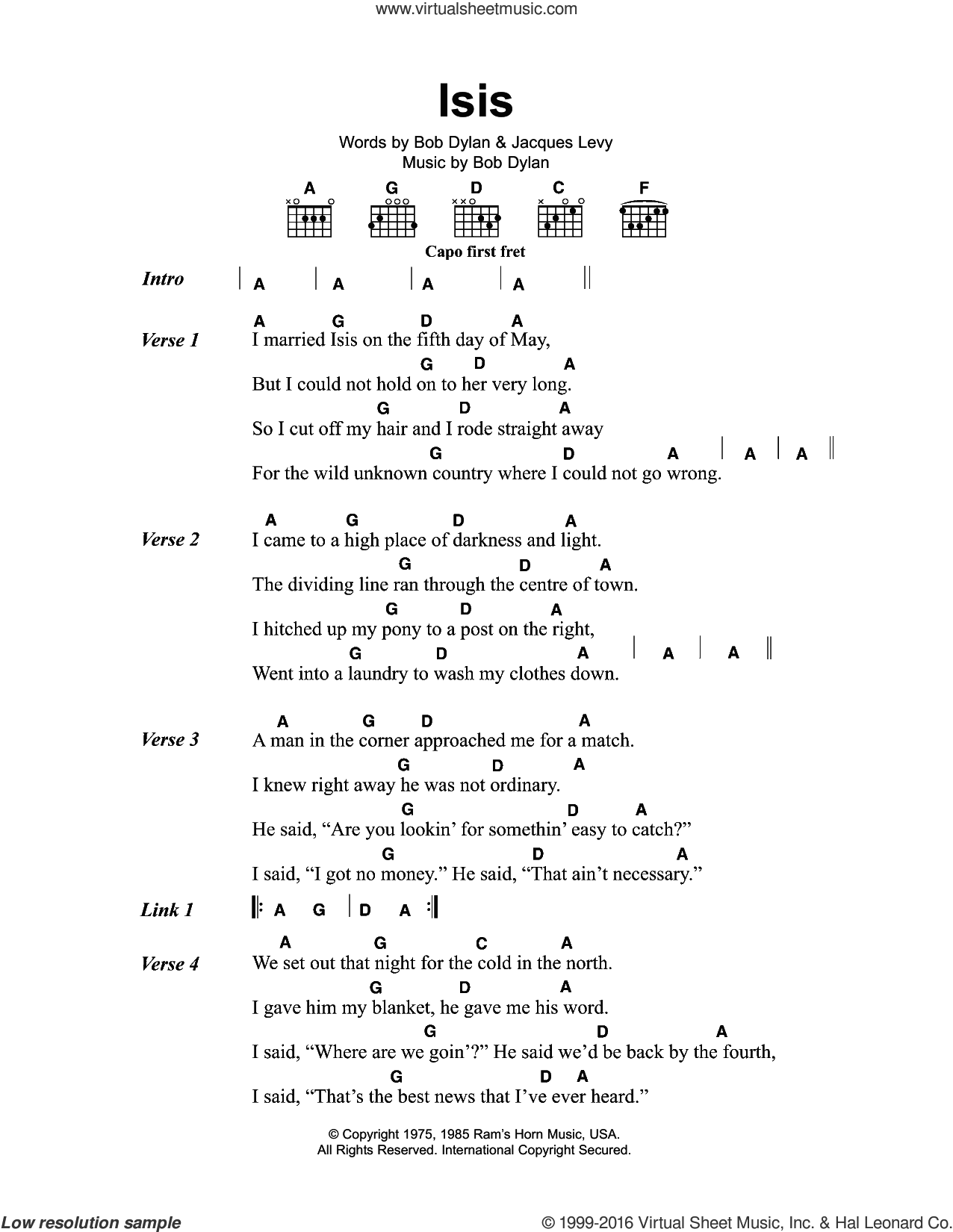 Isis sheet music for guitar (chords) by Bob Dylan and Jacques Levy, intermediate guitar (chords). Score Image Preview.