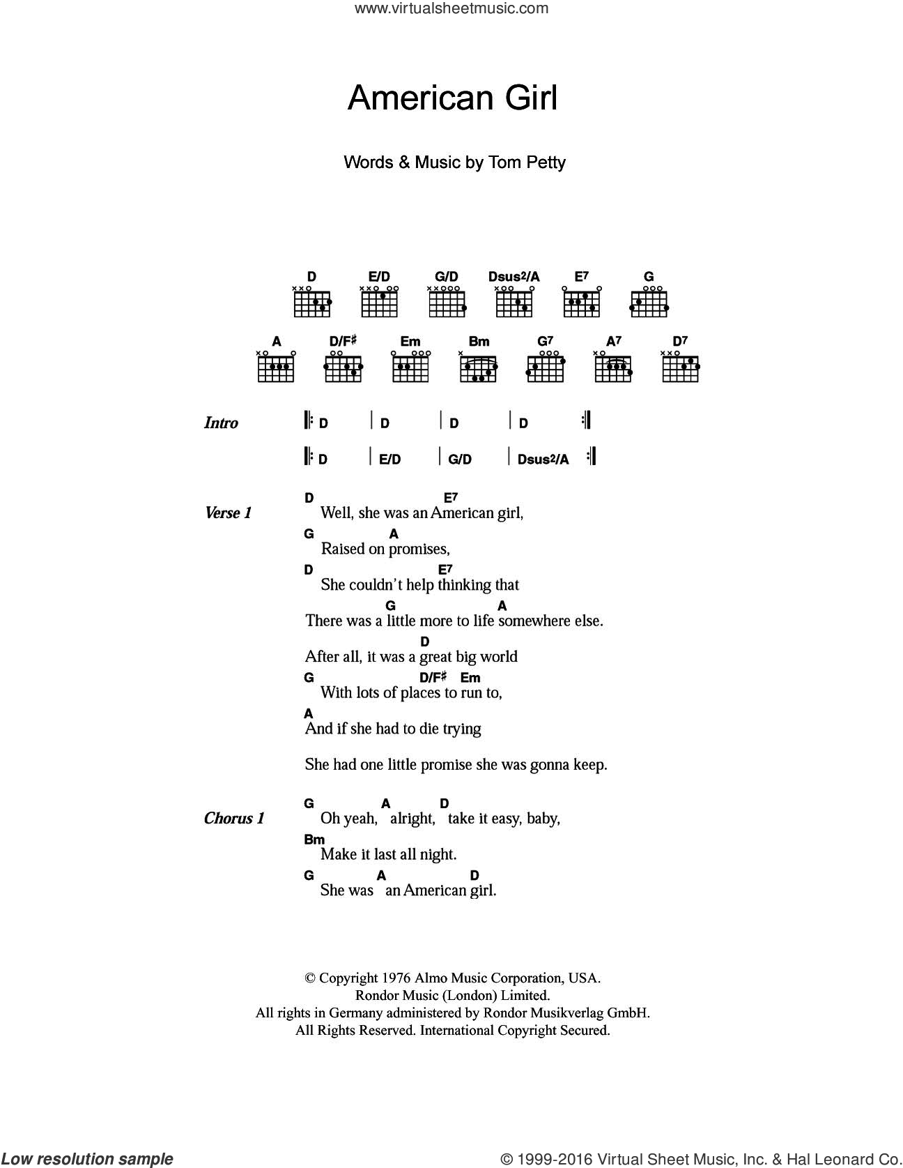 American Girl sheet music for guitar (chords) by Tom Petty and Tom Petty And The Heartbreakers, intermediate skill level