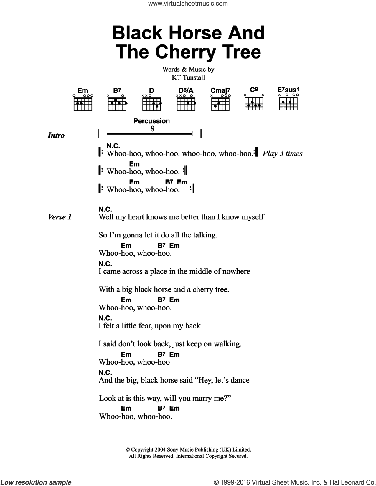 Black Horse And The Cherry Tree sheet music for guitar (chords) by KT Tunstall, intermediate. Score Image Preview.