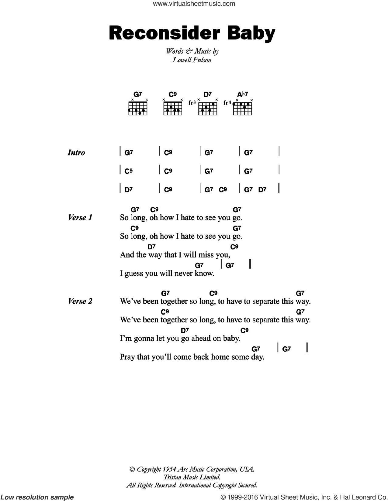 Reconsider Baby sheet music for guitar (chords) by Lowell Fulson. Score Image Preview.