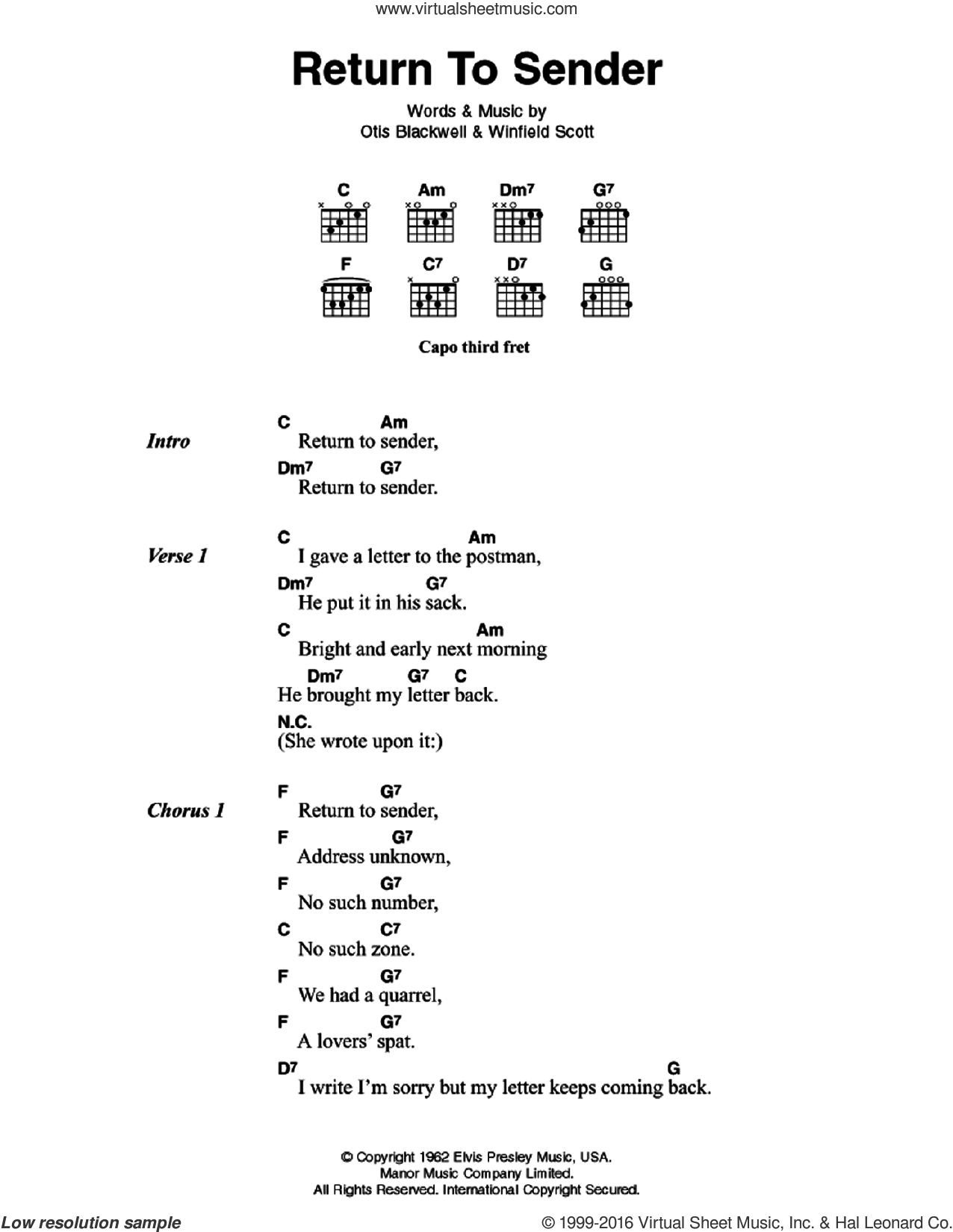Return To Sender sheet music for guitar (chords) by Elvis Presley and Otis Blackwell. Score Image Preview.