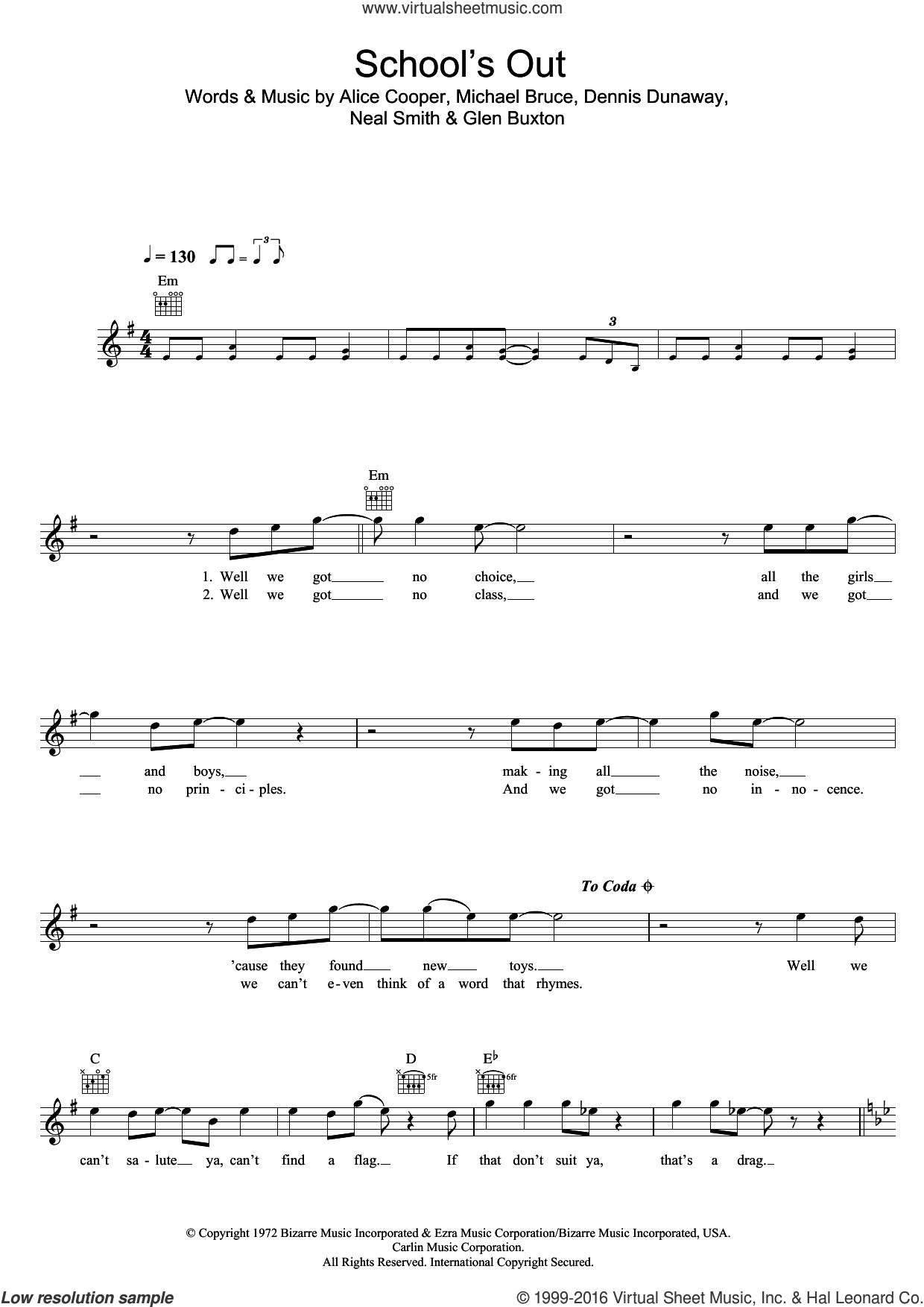 School's Out sheet music for voice and other instruments (fake book) by Alice Cooper, Dennis Dunaway, Glen Buxton, Michael Bruce and Neal Smith, intermediate skill level