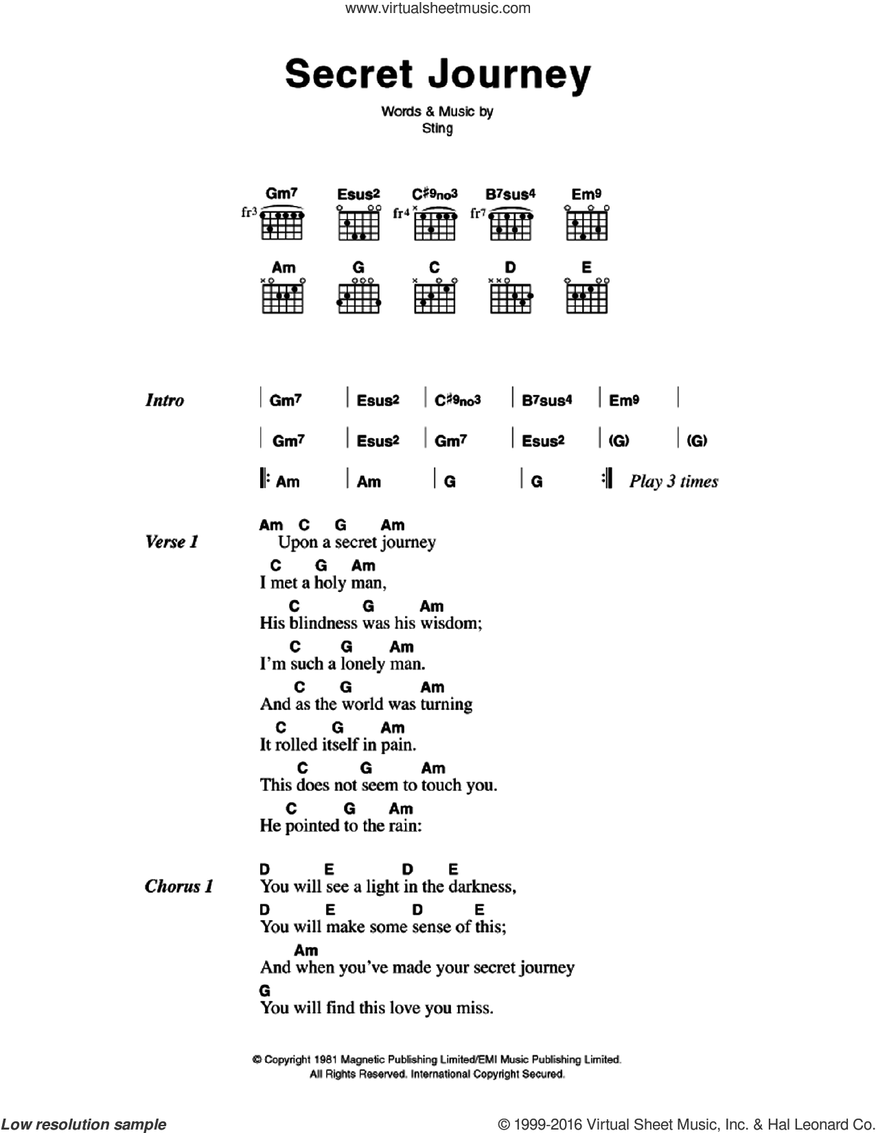Police Secret Journey Sheet Music For Guitar Chords Pdf