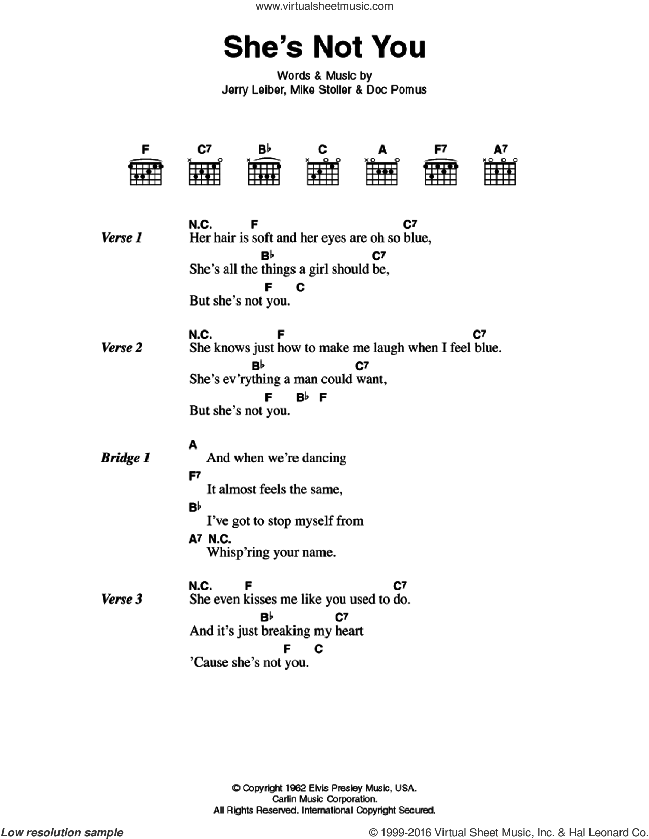 She's Not You sheet music for guitar (chords) by Elvis Presley, Doc Pomus and Mike Stoller, intermediate. Score Image Preview.
