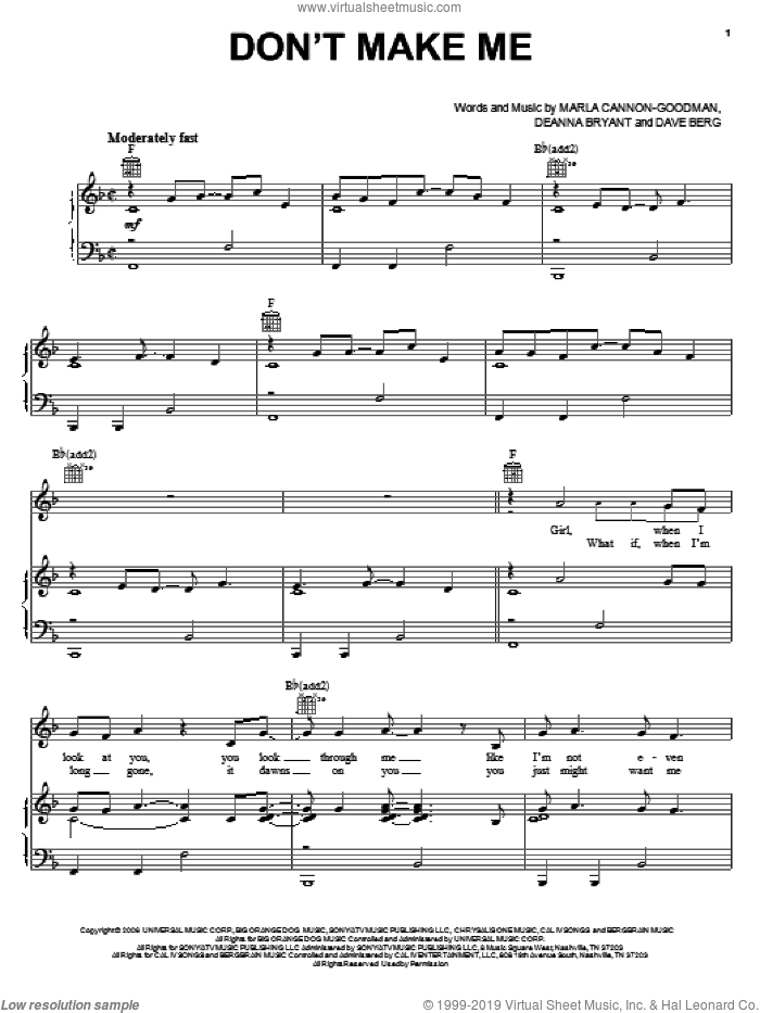 Don't Make Me sheet music for voice, piano or guitar by Blake Shelton, Dave Berg, Deanna Bryant and Marla Cannon-Goodman, intermediate skill level
