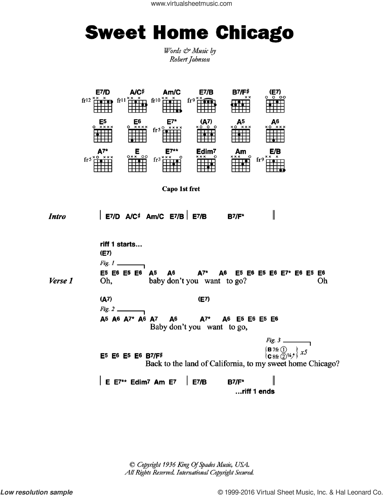 Sweet Home Chicago sheet music for guitar (chords) by Robert Johnson, intermediate. Score Image Preview.