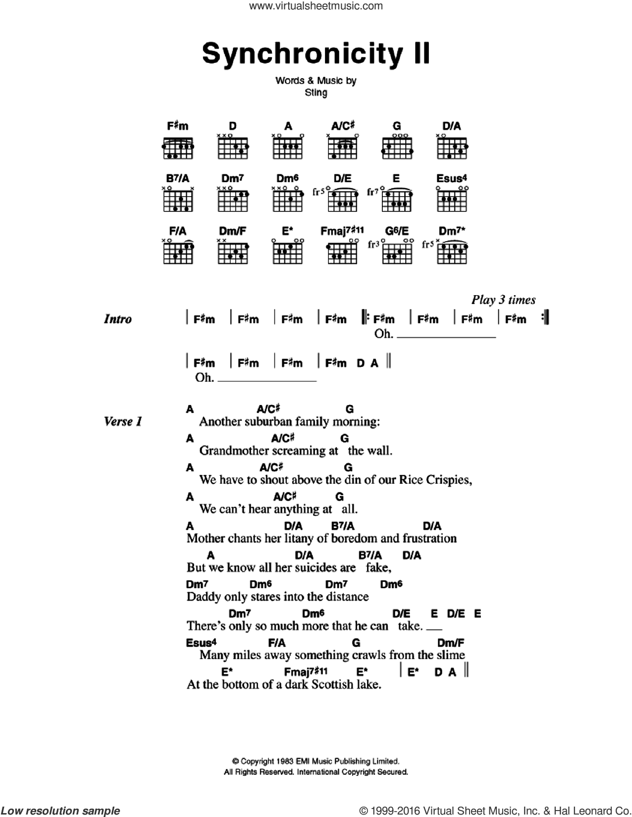 Synchronicity II sheet music for guitar (chords) by Sting and The Police. Score Image Preview.