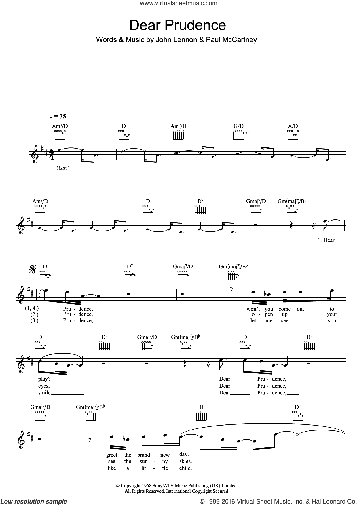 Dear Prudence sheet music for voice and other instruments (fake book) by The Beatles, John Lennon and Paul McCartney. Score Image Preview.